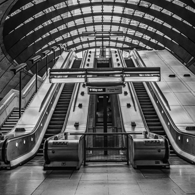 """London - Canary Wharf Underground Exit"" stock image"