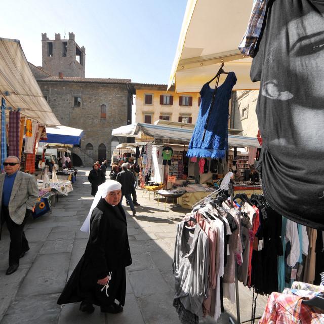 """""""Market day in Cortona"""" stock image"""