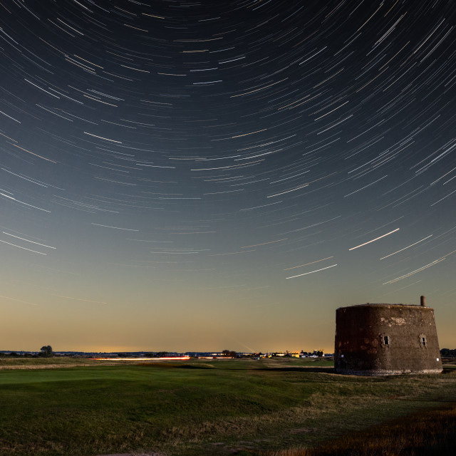 """""""Star trails over a Martello Tower, Felixstowe, Suffolk"""" stock image"""