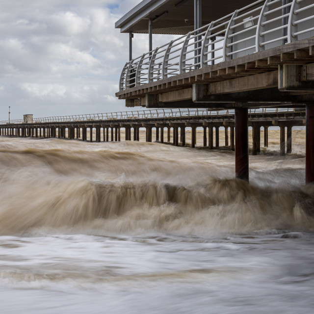 """Rough Seas, Felixstowe Pier, Suffolk"" stock image"