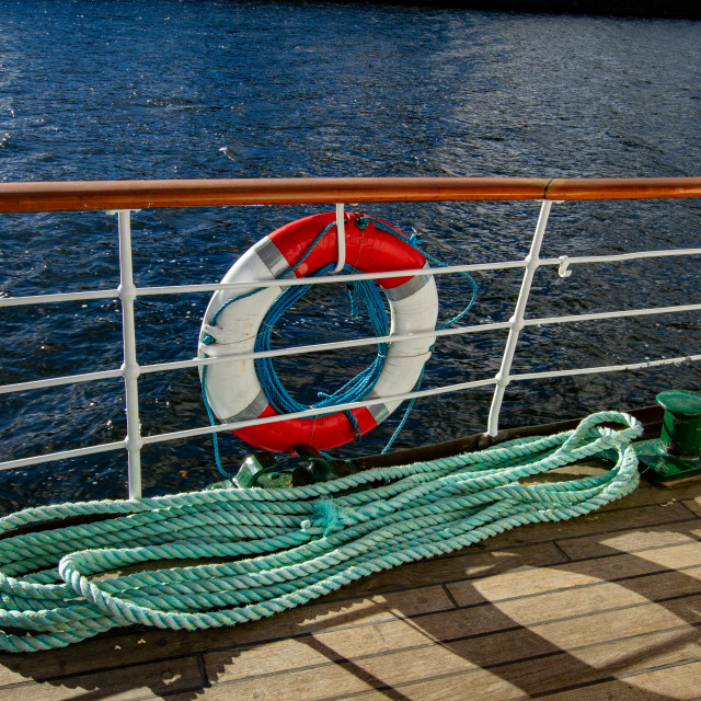 """""""Lifebuoy and Rope on MS Teal, Windermere."""" stock image"""