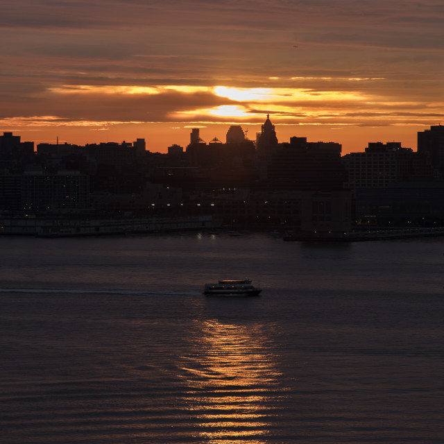 """""""Sunrise over Hudson River"""" stock image"""