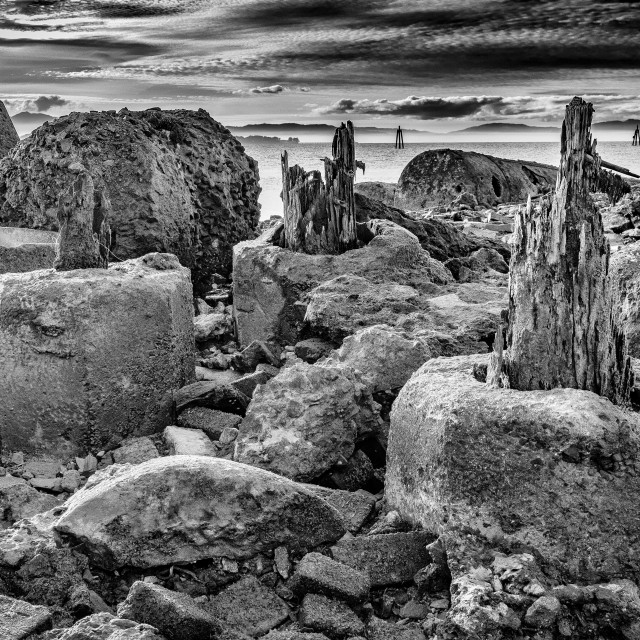 """""""Ruined Pier, Hercules Point"""" stock image"""