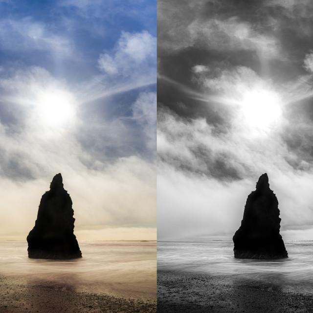 """Ruby Beach Coastal Fog Behind Sea Rock"" stock image"