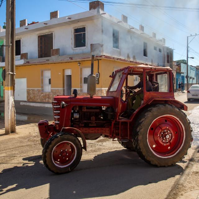 """Tractor in Trinidad"" stock image"