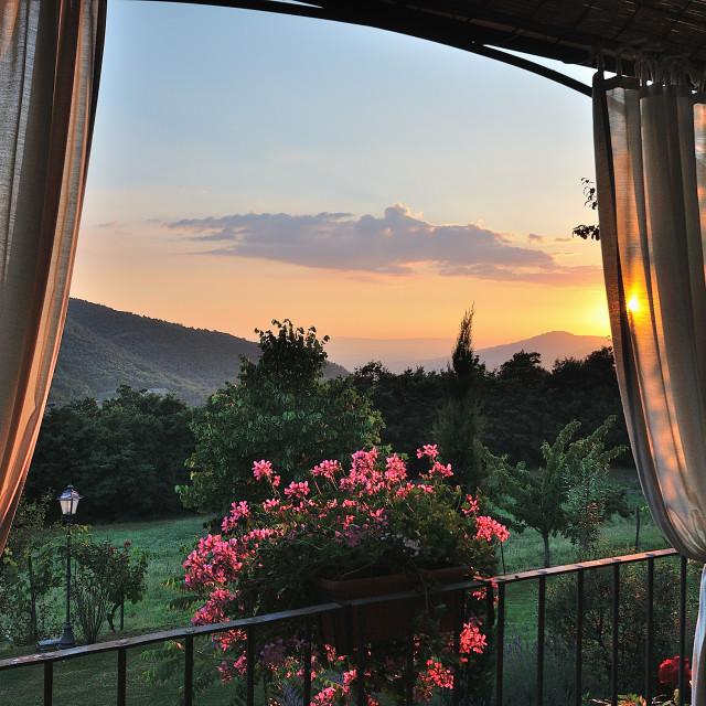 """Cortona sunset"" stock image"