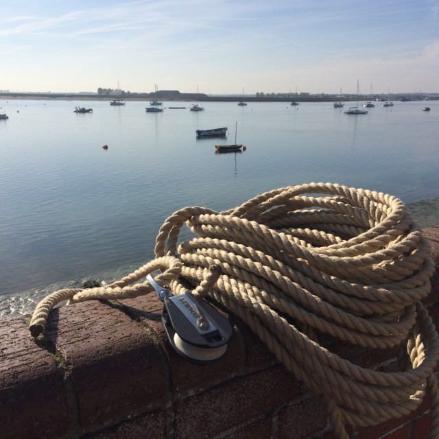 """Rope and Block in Burnham-on-Crouch"" stock image"