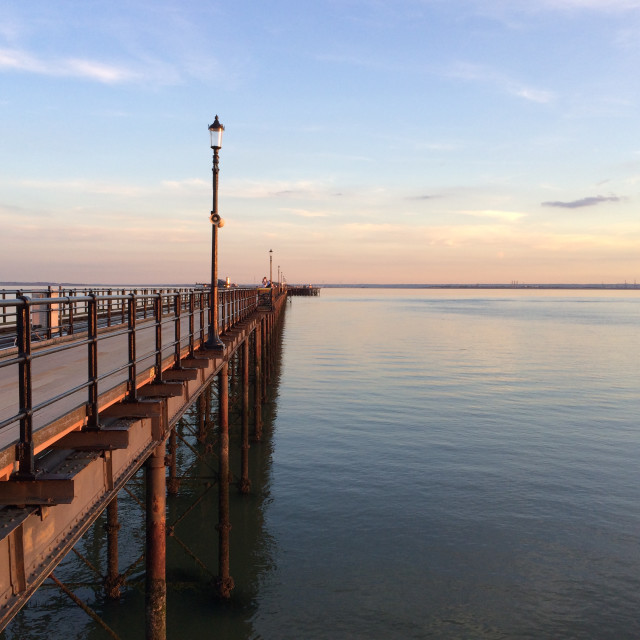 """Southend Pier approaching sunset"" stock image"