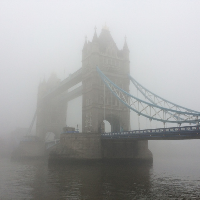 """Tower Bridge in Fog (2)"" stock image"
