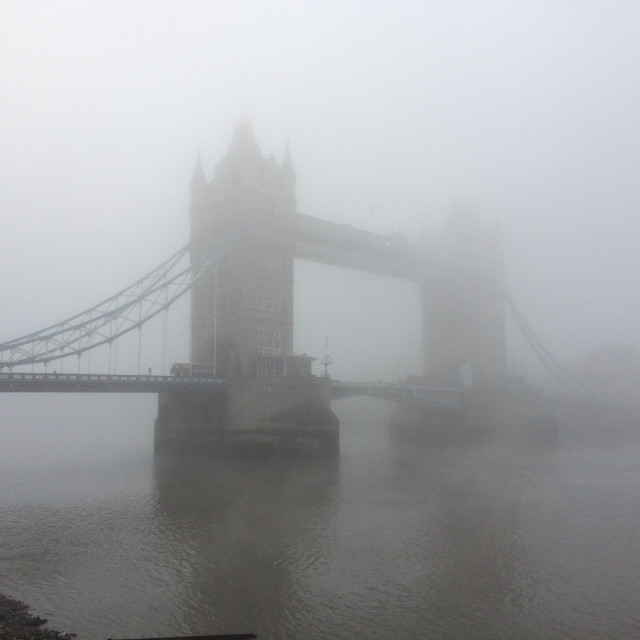 """Tower Bridge in Fog"" stock image"