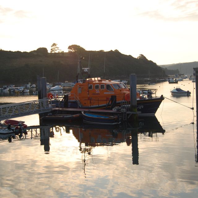 """Salcombe Lifeboat Sunrise"" stock image"