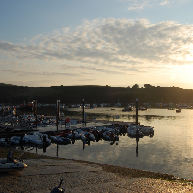"""Salcombe Sunrise at Whitestrand Quay"" stock image"