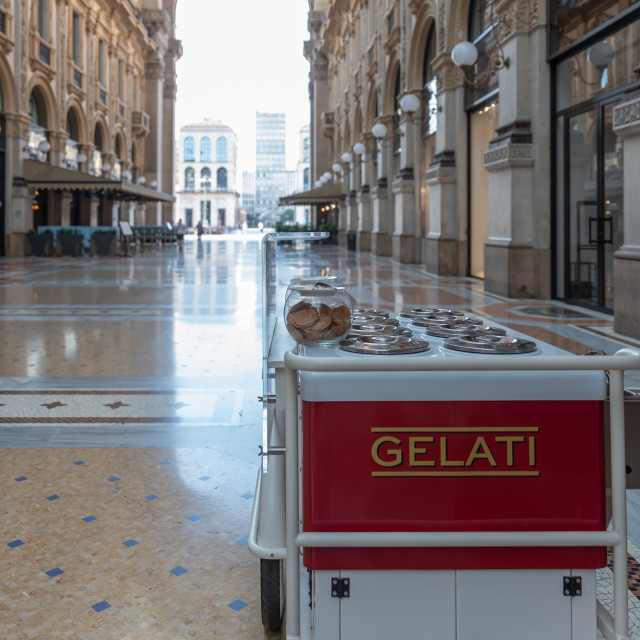 """Ice cream cart in a historic gallery in the city of Milan"" stock image"