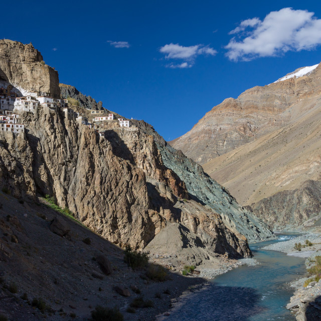 """Phugtal Monastery high above the Tsarab river in Ladakh"" stock image"