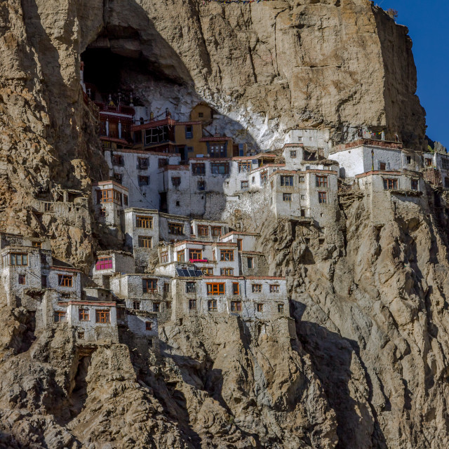 """Houses and temples of the Phugtal Monastery"" stock image"
