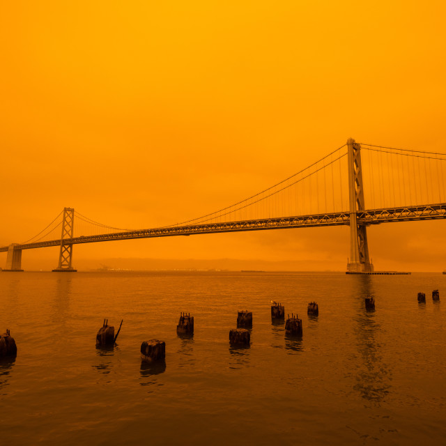 """""""Bay Bridge during a fire"""" stock image"""