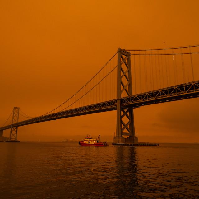 """Bay Bridge and Smoke"" stock image"