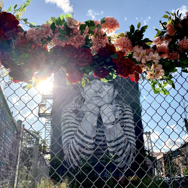 """'MONA LISA OF WILLIAMSBURG' with flowers, 2020, BROOKLYN, NY"" stock image"