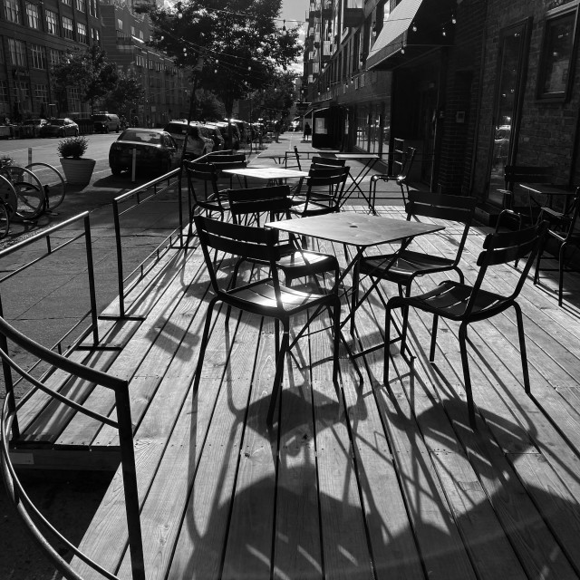 """Empty street cafe, 2020, Brooklyn, NY."" stock image"