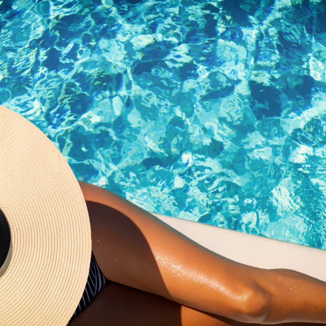 """""""woman in luxury five stars spa resort in the pool."""" stock image"""