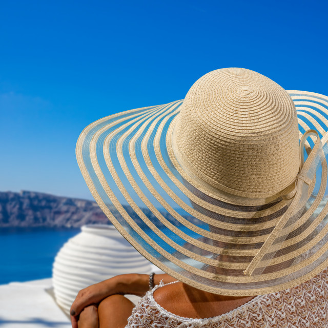 """Woman on holidays in Santorini island"" stock image"