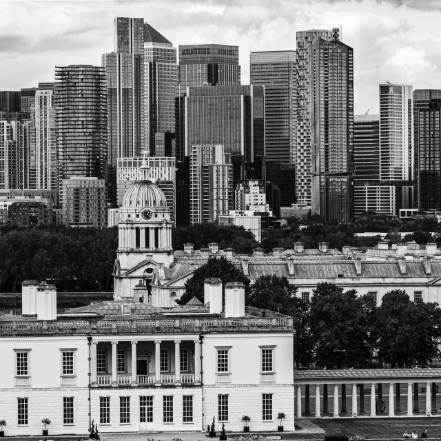 """""""Canary Wharf from Greenwich Park"""" stock image"""