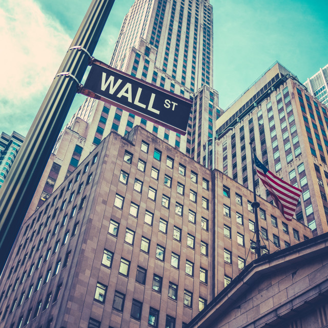 """Wall Street Sign In Manhattan NYC"" stock image"