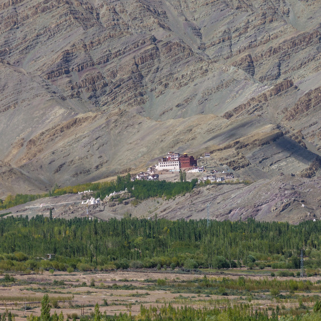 """Matho Monastery and the sedimentary rocks of Zanskar Mountains behind it"" stock image"
