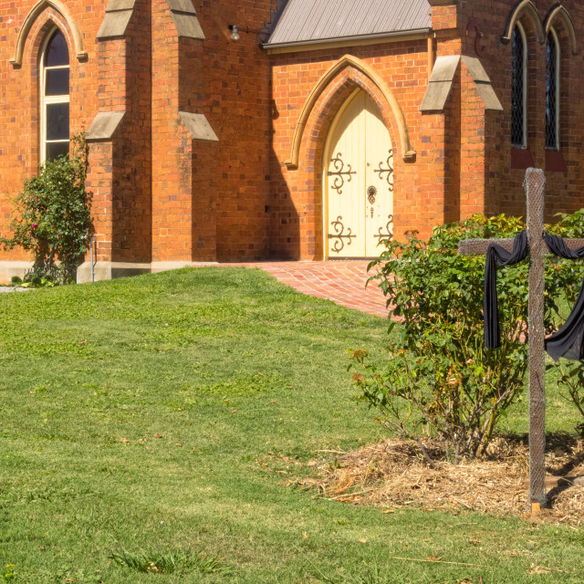 """Cross in front of the church - Mansfield"" stock image"