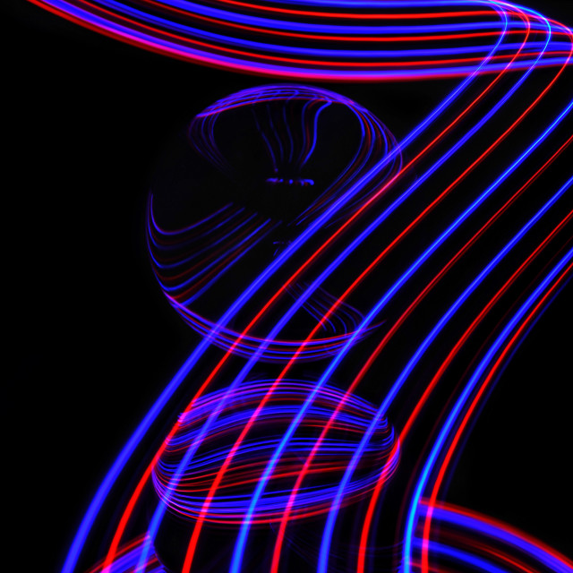 """""""Lensball and light trails."""" stock image"""