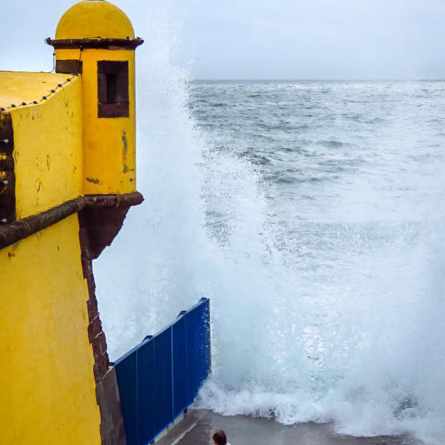"""Huge wave splashing"" stock image"
