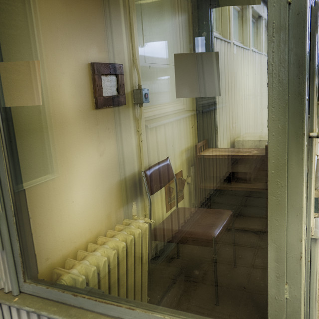 """Interior of booth at former Marienborn bordercrossing memorial W"" stock image"