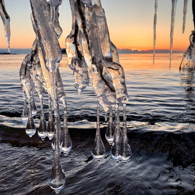 """""""Icicle sunrise, Lake Superior"""" stock image"""