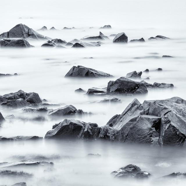 """Ethereal Rocks at Lindisfarne."" stock image"