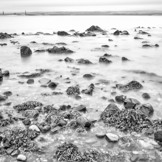 """""""The Uncovered Rocks at Lindisfarne."""" stock image"""