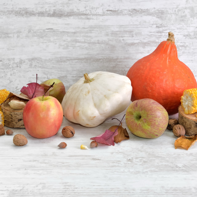 """various and colorful autumnal vegetables and fruits"" stock image"