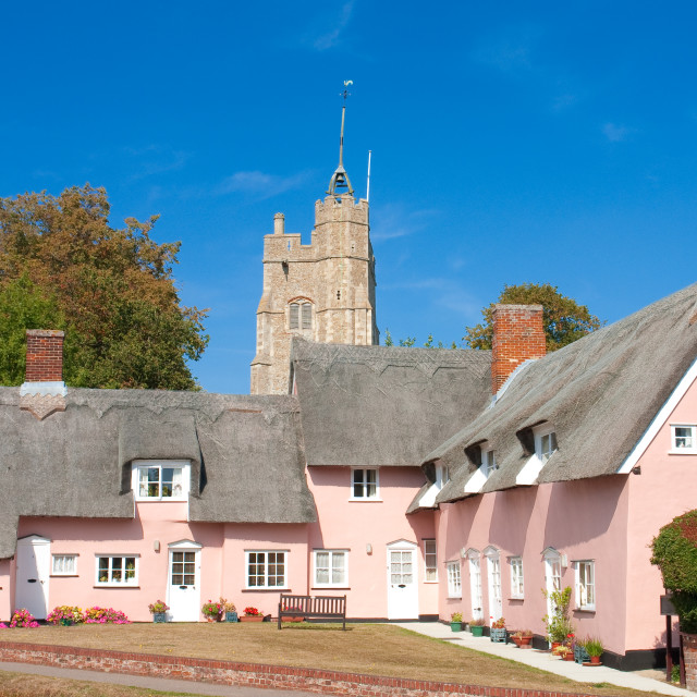 """""""The pink cottages, in front of St Mary's Church, Cavendish, Suffolk"""" stock image"""