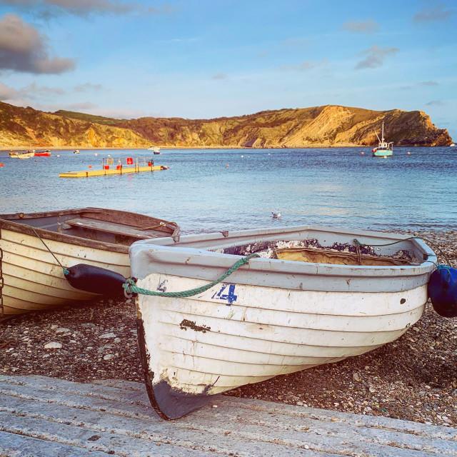 """""""Lulworth Fishing Boats"""" stock image"""