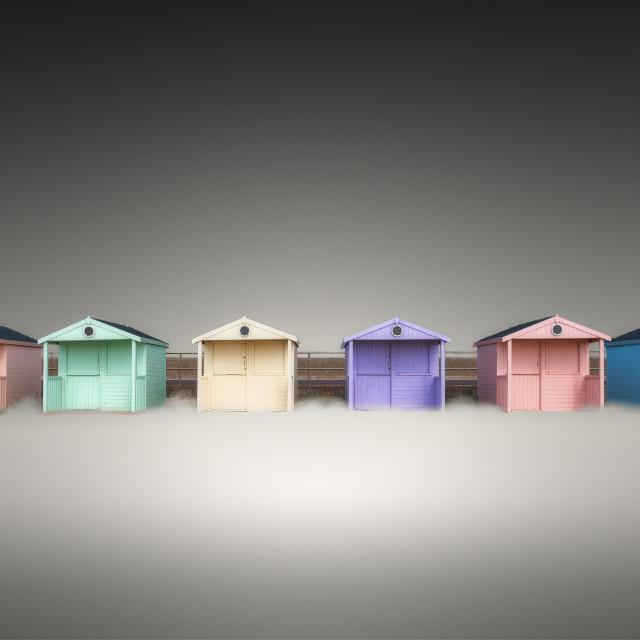 """Clacton Pastel Beach Huts"" stock image"