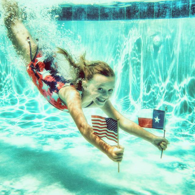 """""""Underwater Flag Girl"""" stock image"""