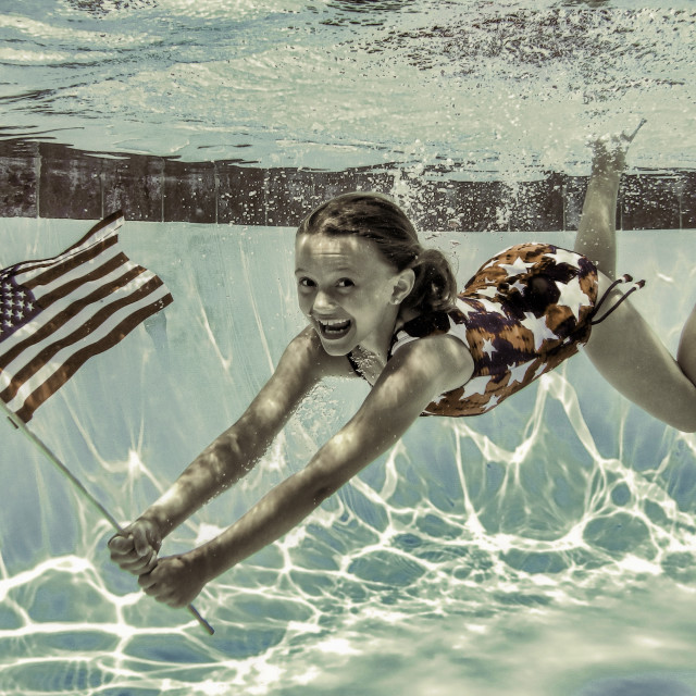 """""""All American Underwater Smile"""" stock image"""
