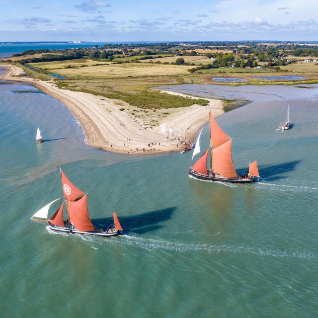 """Thames barge racing"" stock image"
