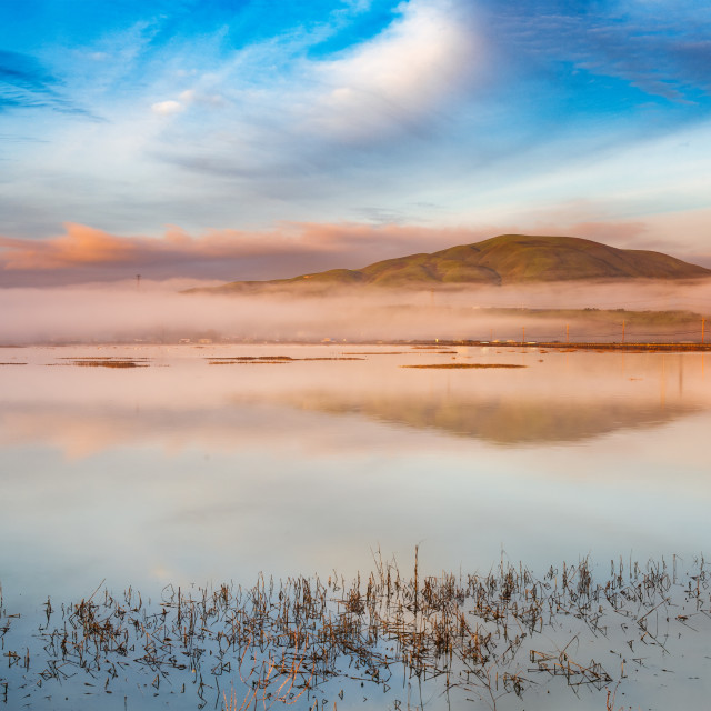 """Dawn Over Sonoma Baylands"" stock image"