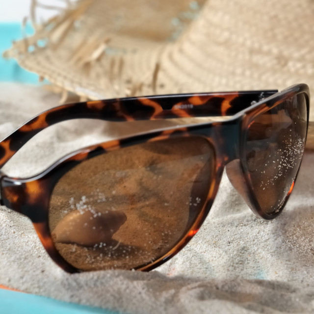 """""""sunglasses on the sand"""" stock image"""