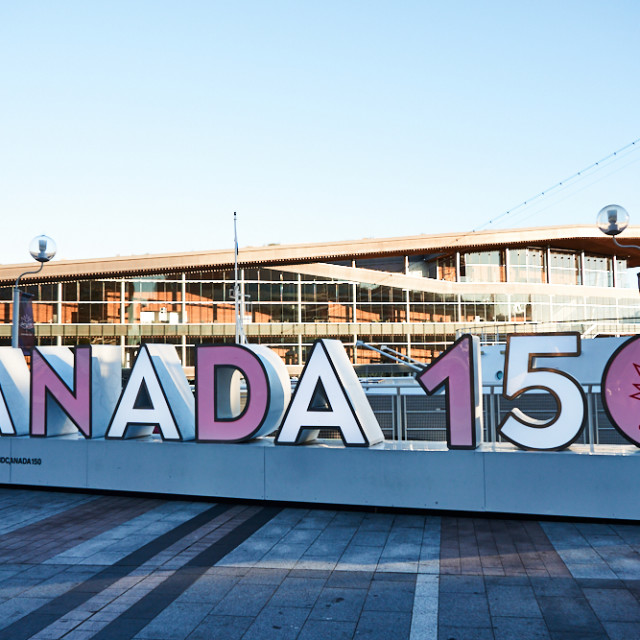"""""""Canada 150 Sign, Vancouver"""" stock image"""