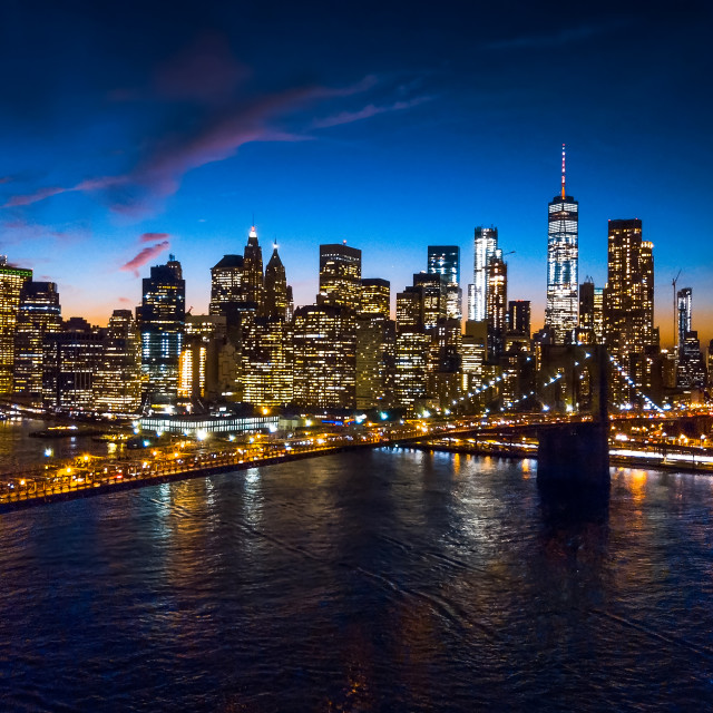 """""""Aerial view of Brooklyn bridge and skyline at night"""" stock image"""