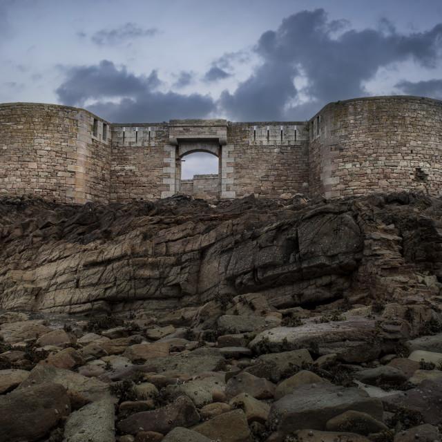 """""""Fort Herbe in the morning light. Alderney"""" stock image"""