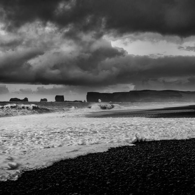"""Waves near Dyrholaey"" stock image"