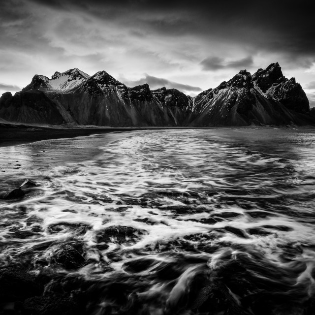 """""""Waves and the Vesturhorn"""" stock image"""