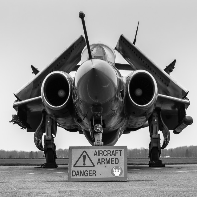 """""""A Buccaneer stands armed and awaiting its next mission."""" stock image"""